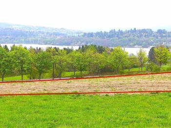 pohled na pozemek a na přehradu - Prodej pozemku 14524 m², Brno