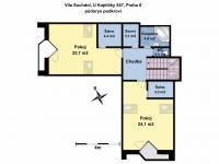 půdorys podkroví (Prodej domu v osobním vlastnictví 186 m², Praha 6 - Suchdol)