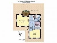 půdorys přízemí (Prodej domu v osobním vlastnictví 186 m², Praha 6 - Suchdol)