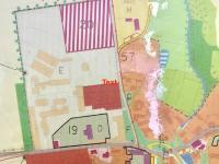 územní plán obce - výřez (Prodej historického objektu 1200 m², Petrovice)
