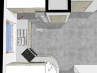 Vizualizace kuchyňského koutu. - Prodej domu v osobním vlastnictví 93 m², Vinařice