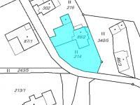 katastrální mapa - nemovitosti dle LV č. 543 (Prodej chaty / chalupy 85 m², Pěnčín)