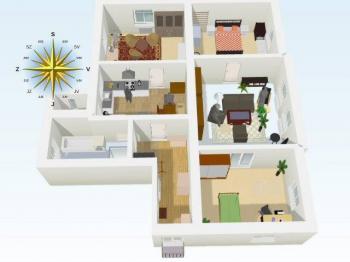 plánek 3D - Pronájem bytu 4+1 v osobním vlastnictví 125 m², Liberec