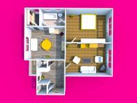 3D dispozice bytu (Prodej bytu 3+kk v osobním vlastnictví 90 m², Mikulov)