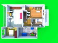 3D dispozice 1. patro (Prodej domu v osobním vlastnictví 210 m², Mikulov)