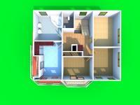 3D dispozice 2.NP (Prodej domu v osobním vlastnictví 245 m², Brno)