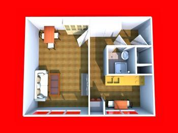 3D dispozice bytu - Prodej bytu 1+1 v družstevním vlastnictví 36 m², Přerov