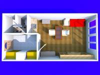 3D dispozice bytu (Prodej bytu 1+kk v osobním vlastnictví 23 m², Brno)