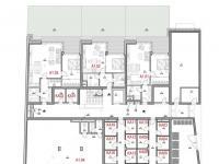 Půdorys podlaží - Prodej bytu 2+kk v osobním vlastnictví 50 m², Olomouc