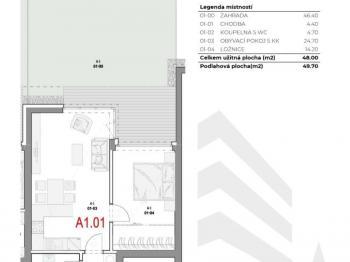 Půdorys bytu se zahrádkou - Prodej bytu 2+kk v osobním vlastnictví 50 m², Olomouc