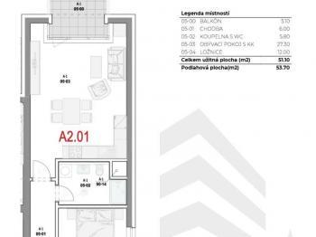 Dispozice bytu - Prodej bytu 2+kk v osobním vlastnictví 54 m², Olomouc