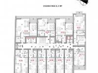 Dispozice patra - Prodej bytu 2+kk v osobním vlastnictví 54 m², Olomouc