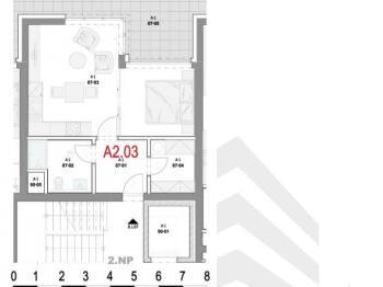 Dispozice bytu - Prodej bytu 1+1 v osobním vlastnictví 41 m², Olomouc