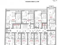 Dispozice podlaží - Prodej bytu 1+1 v osobním vlastnictví 41 m², Olomouc
