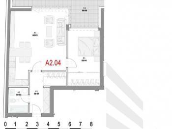 Dispozice bytu - Prodej bytu 2+kk v osobním vlastnictví 62 m², Olomouc