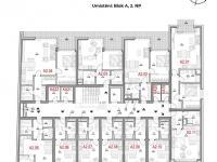 Dispozice podlaží - Prodej bytu 2+kk v osobním vlastnictví 62 m², Olomouc