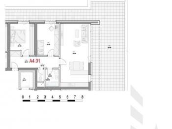 Dispozice bytu - Prodej bytu 3+kk v osobním vlastnictví 79 m², Olomouc