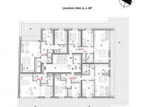 Dispozice 4. nadzemního podlaží - Prodej bytu 3+kk v osobním vlastnictví 79 m², Olomouc