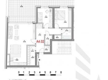 Dispozice bytu - Prodej bytu 3+kk v osobním vlastnictví 85 m², Olomouc