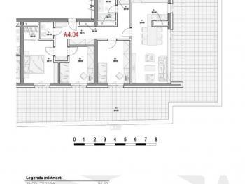 Dispozice bytu - Prodej bytu 4+kk v osobním vlastnictví 95 m², Olomouc