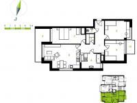 2D dispozice bytu - Prodej bytu 4+kk v osobním vlastnictví 116 m², Brno