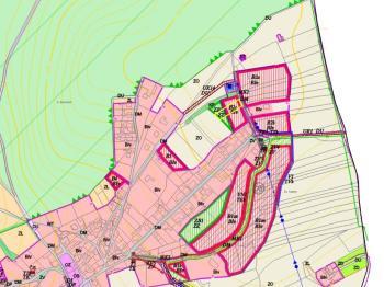 Výřez územního plánu s vyznačením pozemku (žlutě) - Prodej pozemku 1340 m², Habrůvka