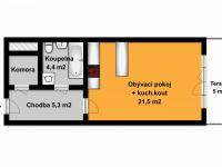 Orientační půdorys bytu (Pronájem bytu 1+kk v osobním vlastnictví 31 m², Kolín)