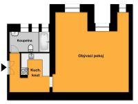 orientační  půdorys (Prodej bytu 1+1 v osobním vlastnictví 56 m², Praha 3 - Žižkov)