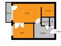 orientační půldorys (Prodej bytu 2+kk v osobním vlastnictví 40 m², Kolín)