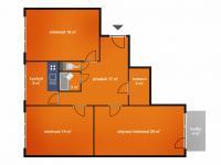 půdorys bytu (Prodej bytu 3+1 v osobním vlastnictví 88 m², Poděbrady)