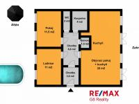 půdorys bytu se zahradou (Prodej bytu 3+kk v osobním vlastnictví 74 m², Polepy)