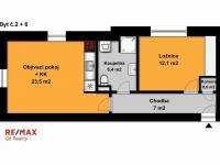 2+kk půdorys (Prodej bytu 2+kk v osobním vlastnictví 50 m², Velim)