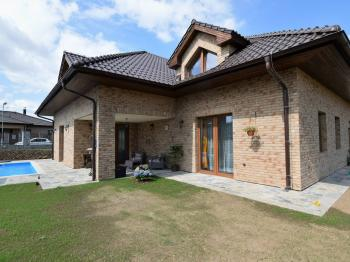 pohled na dům s krytou terasou u bazénu a obývacího pokoje - Pronájem domu v osobním vlastnictví 300 m², Jesenice