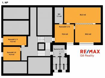 Pronájem kancelářských prostor 40 m², Kolín