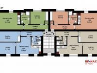 půdorys celého 1. a 2. NP (Prodej bytu 3+kk v osobním vlastnictví 60 m², Velim)