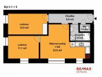 půdorys bytu 3+kk (Prodej bytu 3+kk v osobním vlastnictví 60 m², Velim)