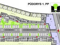 Půdorys 1. PP (Pronájem obchodních prostor 201 m², Kolín)