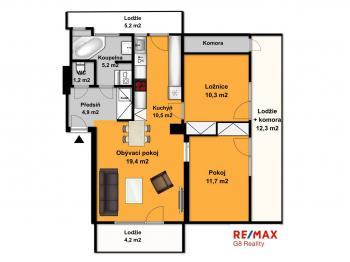 Orientační půdorys - Prodej bytu 3+kk v osobním vlastnictví 85 m², Praha 6 - Břevnov