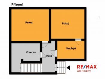 orientační půdorys přízemí - Prodej domu v osobním vlastnictví 90 m², Starý Kolín