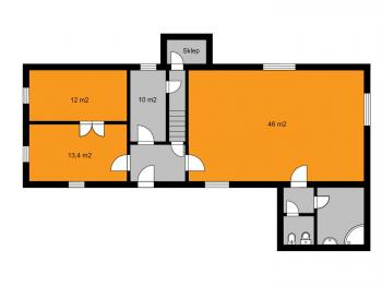 orientační půdorys přízemí - Prodej domu v osobním vlastnictví 155 m², Červené Janovice
