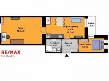 orientační půdorys - Prodej bytu 2+kk v družstevním vlastnictví 55 m², Praha 9 - Vysočany