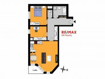Půdorys bytu - Prodej bytu 3+kk v osobním vlastnictví 70 m², Velký Osek