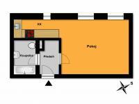 půdorys bytu  - Pronájem bytu 1+kk v osobním vlastnictví 31 m², Kolín