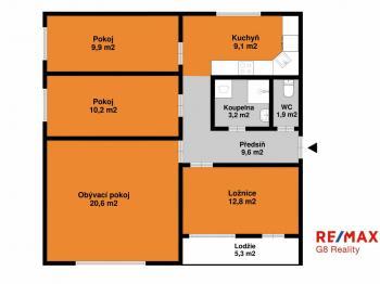 orientační půdorys - Prodej bytu 4+1 v osobním vlastnictví 83 m², Praha 4 - Kamýk