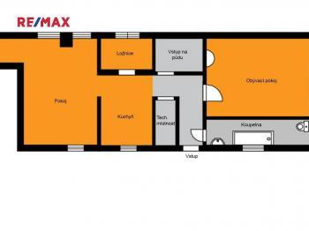 půdorys - Prodej chaty / chalupy 90 m², Zbýšov