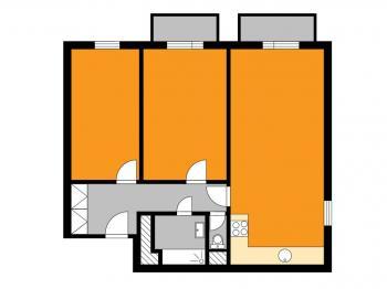 orientační půdorys - Prodej bytu 3+kk v osobním vlastnictví 73 m², Čáslav