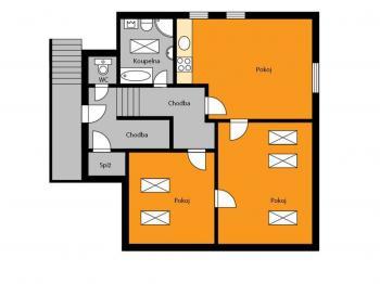 orientační půdorys - Pronájem bytu 3+kk v osobním vlastnictví 64 m², Uhlířské Janovice