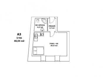 Pronájem bytu 1+kk v osobním vlastnictví 46 m², Kostelec nad Orlicí