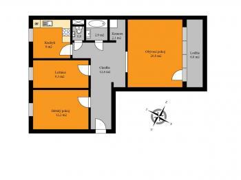 půdorys bytu - Prodej bytu 3+1 v družstevním vlastnictví 77 m², Ostrava