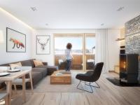 Studie apartmanu (Prodej bytu 1+kk v osobním vlastnictví 43 m², Železná Ruda)